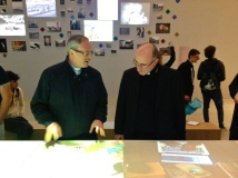 Il cardinale Daniel Fernando Sturla Berhouet con monsignor Pasquale Iacobone, vice commissario del padiglione Santa Sede
