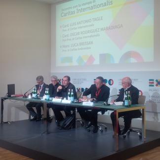 Michel Roy, Luca Bressan, Davide Milani, cardinale Oscar Rodriguez Maradiaga, Monsignor Luigi Bressan