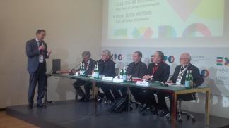 Giuseppe Sala, Michel Roy, Luca Bressan, Davide Milani, cardinale Oscar Rodriguez Maradiaga, Monsignor Luigi Bressan